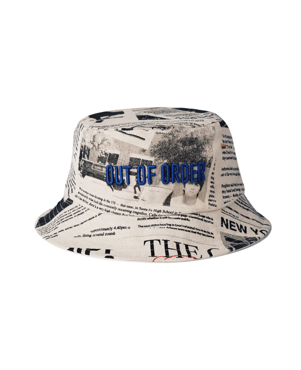 """NEWS"" DENIM REVERSIBLE BUCKET HAT"