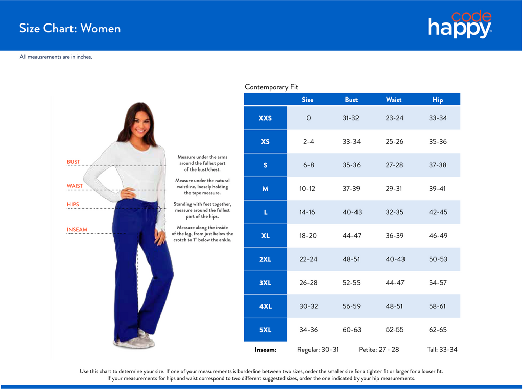 Code Happy Women's Size Chart