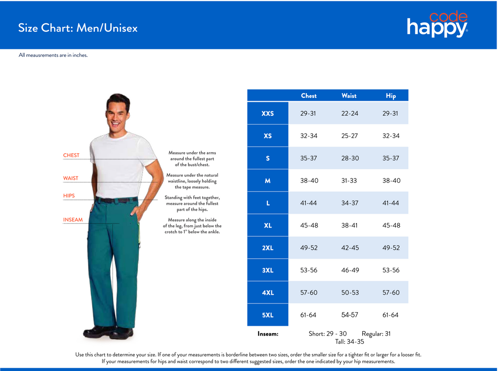 Code Happy Men's/Unisex Size Chart