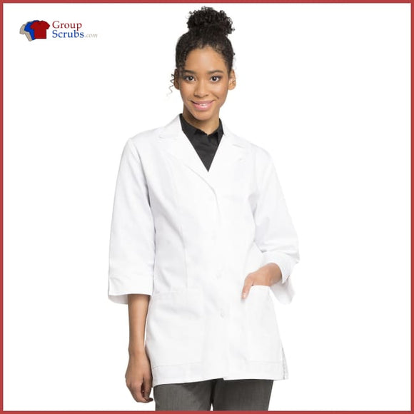 Cherokee Professional Whites 1470AB 30 Antimicrobial 3/4 Sleeve Lab Coat with Fluid Barrier White / 2XL Womens