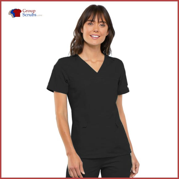 Cherokee Flexibles 2968 V-Neck Knit Panel Top Womens