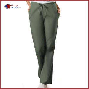Cherokee Workwear Originals 4101 Natural Rise Flare Leg Drawstring Pant Olive / 2Xl Womens