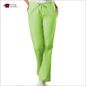 Cherokee Workwear Originals 4101P Natural Rise Flare Leg Drawstring Pant Lime Green / 2Xl Womens
