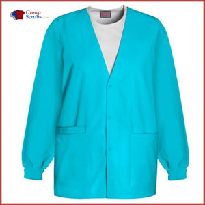 Cherokee Workwear Originals 4301 Cardigan Warm-Up Jacket Turquoise / 2Xl Womens