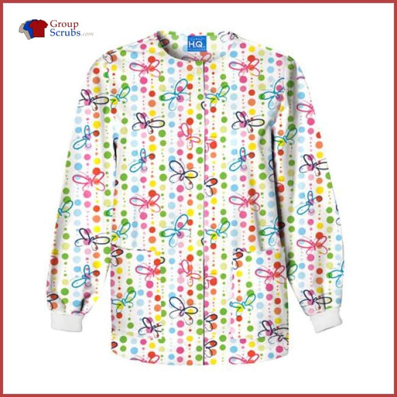 Scrub Hq 4350 Snap Front Warm-Up Jacket Butterfly Dots / 2Xl Womens
