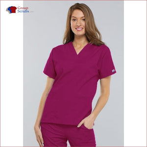 Cherokee Workwear Originals 4700 V-Neck Top Raspberry / 2Xl Womens