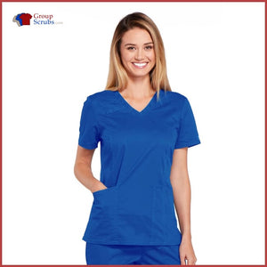 Cherokee Workwear Core Stretch 4710 V-Neck Top Royal / 2XL Womens