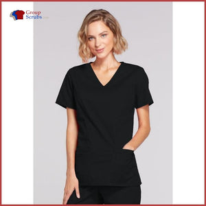 Cherokee Workwear Core Stretch 4728 Mock Wrap Top Black / 2Xl Womens