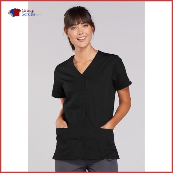 Cherokee Workwear Originals 4770 Snap Front V-Neck Top Black / 2Xl Womens