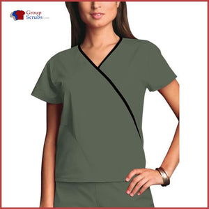 Cherokee Workwear Originals 4800 Mini Mock Wrap Top Olive / 2XL Womens