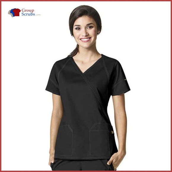 Wonderwink Seven Flex 6702 Fashion Crossover Top Black / 2Xl Womens