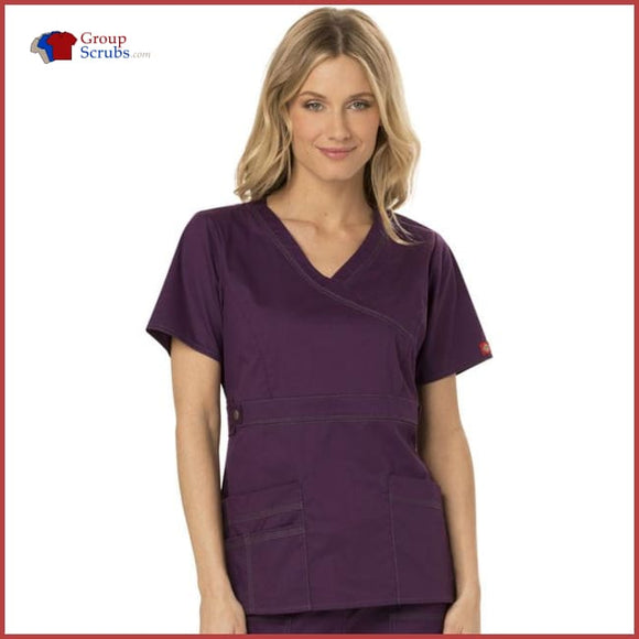 Dickies Gen Flex 817355 Mock Wrap Top Eggplant / 2XL Womens