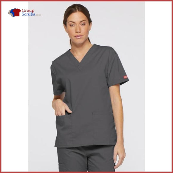 Dickies Eds Signature 86706 V-Neck Top Pewter / M Womens