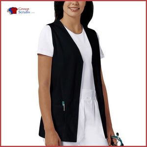 Cherokee Fashion Solids 1602 Button Front Vest Black / 2Xl Womens