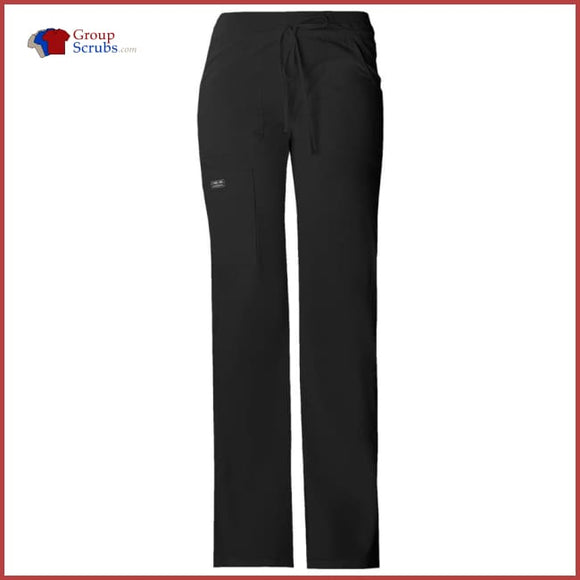 Cherokee Workwear Core Stretch 24001 Low Rise Drawstring Cargo Pant Black / Xxs Womens
