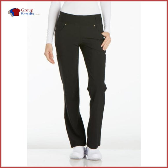 Cherokee Iflex Ck002 Mid Rise Straight Leg Pull-On Pant Black / 2Xl Womens