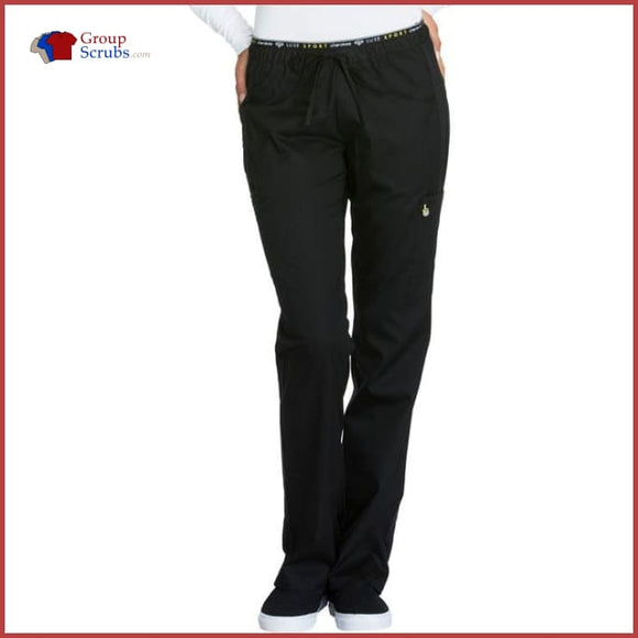 Cherokee Luxe Sport Ck003T Mid Rise Straight Leg Pull-On Pant Black / 2Xl Womens