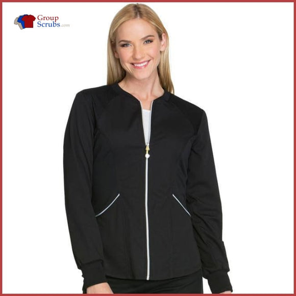 Cherokee Luxe Sport Ck300 Zip Front Warm-Up Jacket Black / Xxs Womens