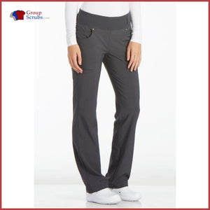 Cherokee Iflex Ck002 Mid Rise Straight Leg Pull-On Pant Pewter / S Womens