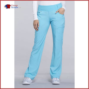 Cherokee Iflex Ck002P Mid Rise Straight Leg Pull-On Pant Turquoise / Xl Womens
