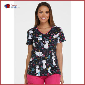 Dickies Eds Dk700 V-Neck Top Pretty Little Kitty / M Womens