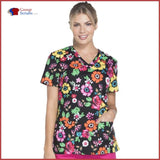 Dickies Eds Dk708 V-Neck Top Flower Festival / S Womens