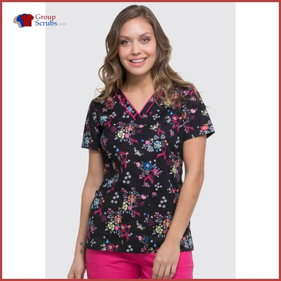 Dickies Eds Dk709 V-Neck Top Beaufitul Petals / 2Xl Womens