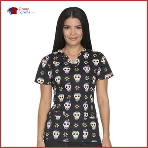 Dickies Dk713 V-Neck Top Sugar Skulls / Xxs Womens