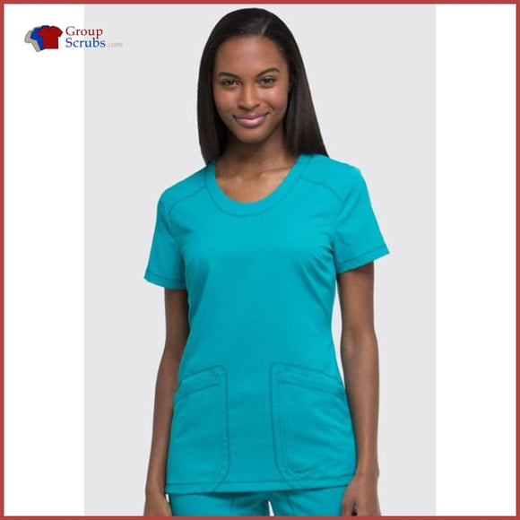 Dickies Dynamix Dk720 Rounded V-Neck Top Teal Blue / 2Xl Womens