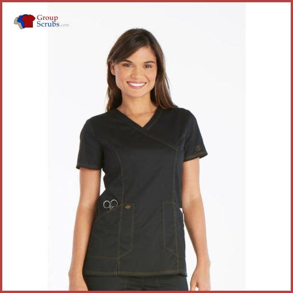 Dickies Essence Dk804 Mock Wrap Top Black / 2Xl Womens