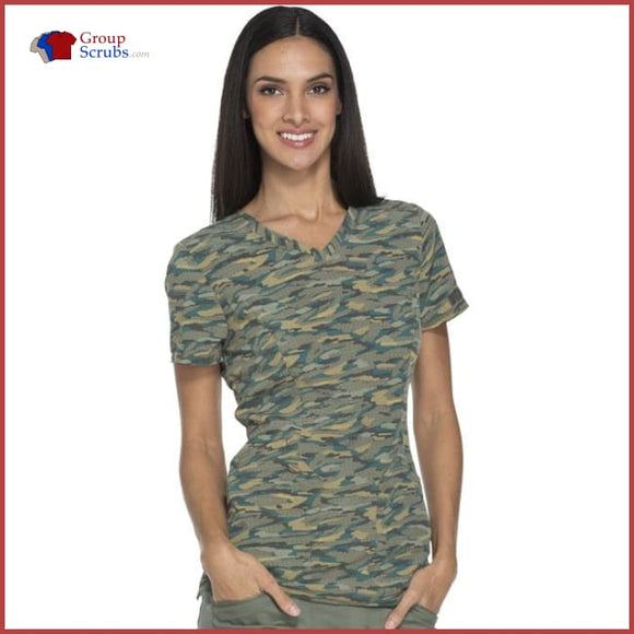 Dickes Essence Dk808 V-Neck Top Get Back In Line Olive / Xxs Womens
