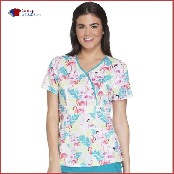 Runway Rw601 Mock Wrap Top Flamingo Fantasy / 3Xl Womens