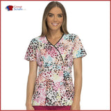Runway Rw601 Mock Wrap Top Spotted Heart / L Womens