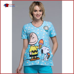 Tooniforms Tf618 V-Neck Top Chill Charlie Brown / 2Xl Womens