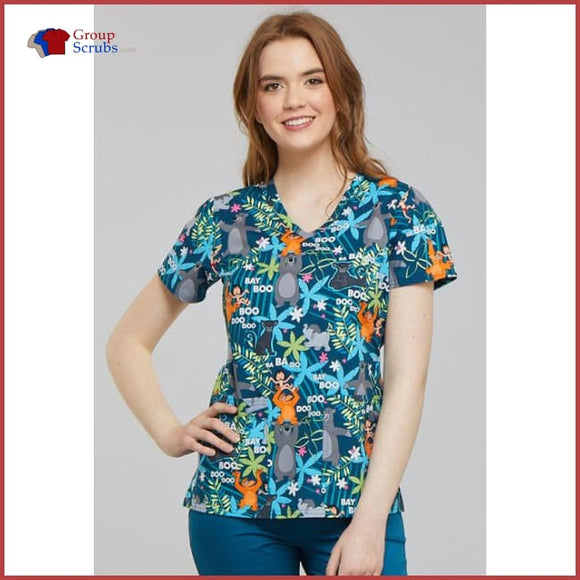 Tooniforms Disney Tf638 V-Neck Top Jungle Jazz / 2Xl Womens