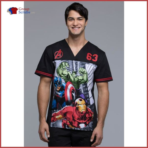 Tooniforms Tf702 Mens V-Neck Top Heroes Forever / 2Xl Mens