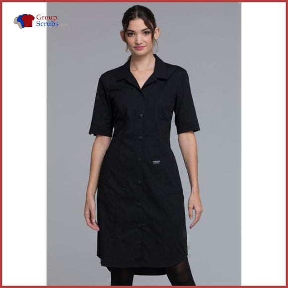 Cherokee Workwear Professionals Ww500 Button Front Dress Black / 2Xl Womens