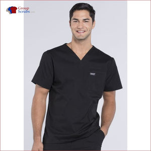 Cherokee Workwear Professionals Ww675 Mens V-Neck Top Black / 2Xl Mens