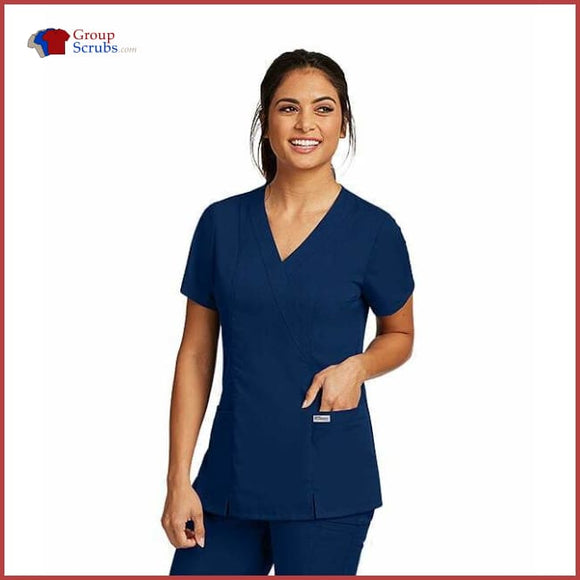 Barco Greys Anatomy 41101 2-Pocket Mock Wrap Top Indigo / Xs Clearance