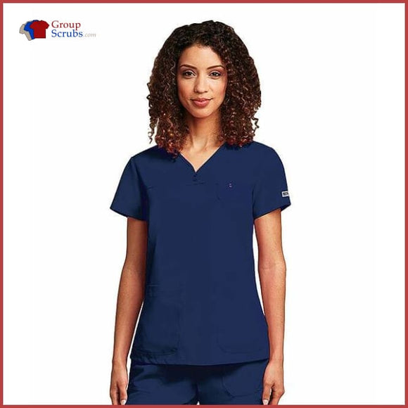 Barco Greys Anatomy 41340X 3-Pocket V-Neck Yoke Top Indigo / 2Xl Clearance