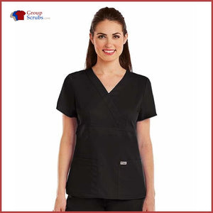 Barco Greys Anatomy 4153 3-Pocket Mock Wrap Top Black / M Clearance