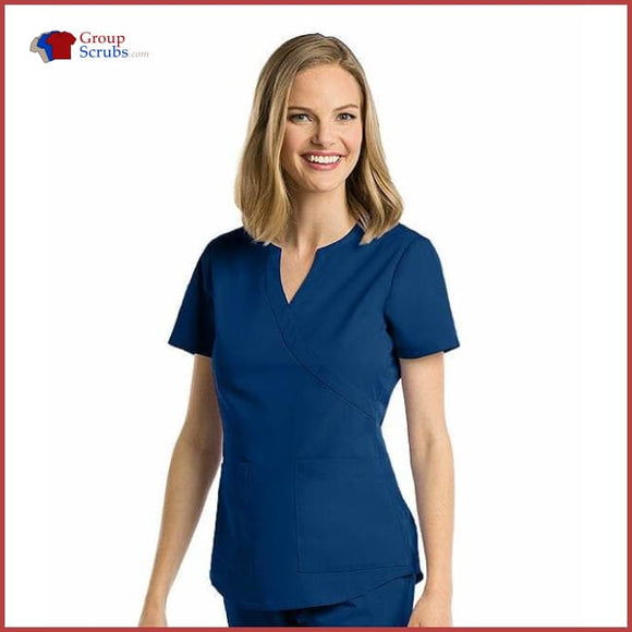 Barco Nrg 3119X 2-Pocket Mock Wrap Side Panel Top Indigo / 2Xl Clearance