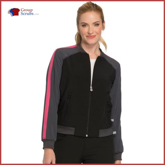 Cherokee Infinity Ck310A Zip Front Warm-Up Jacket Black / 2Xl Womens