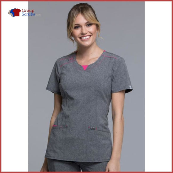 Cherokee Infinity Ck710A Round Neck Top Heather Grey / 2Xl Womens