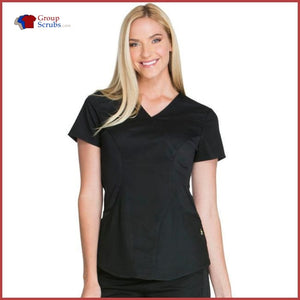 Cherokee Luxe Sport Ck603 Mock Wrap Top Black / 2Xl Womens