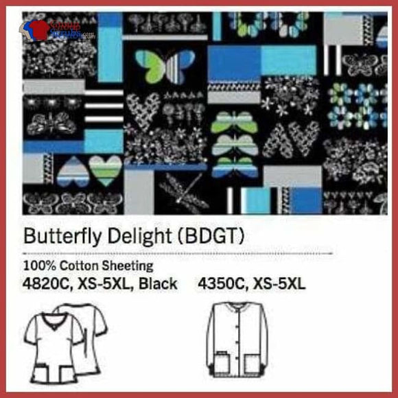 Cherokee Scrub Hq 4820C Round Neck Top Butterfly Delight / Xs Clearance