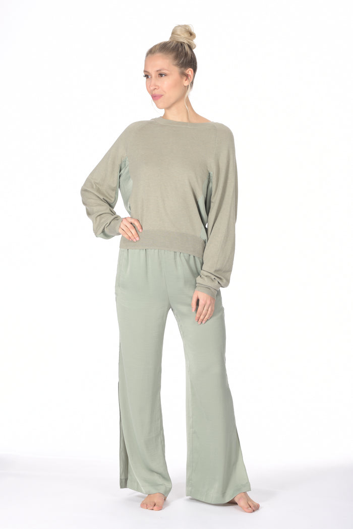 SONORA satin panel sweater