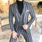 Men Striped  Three Pcs Business Slim Fits Suit