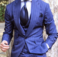 Blended Royal  Blue Mens Striped  3 Pieces Suits - Dada Stores
