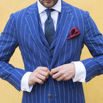 Custom Blue Men Vertical Stripe Smart 3 Piece Suit - Dada Stores